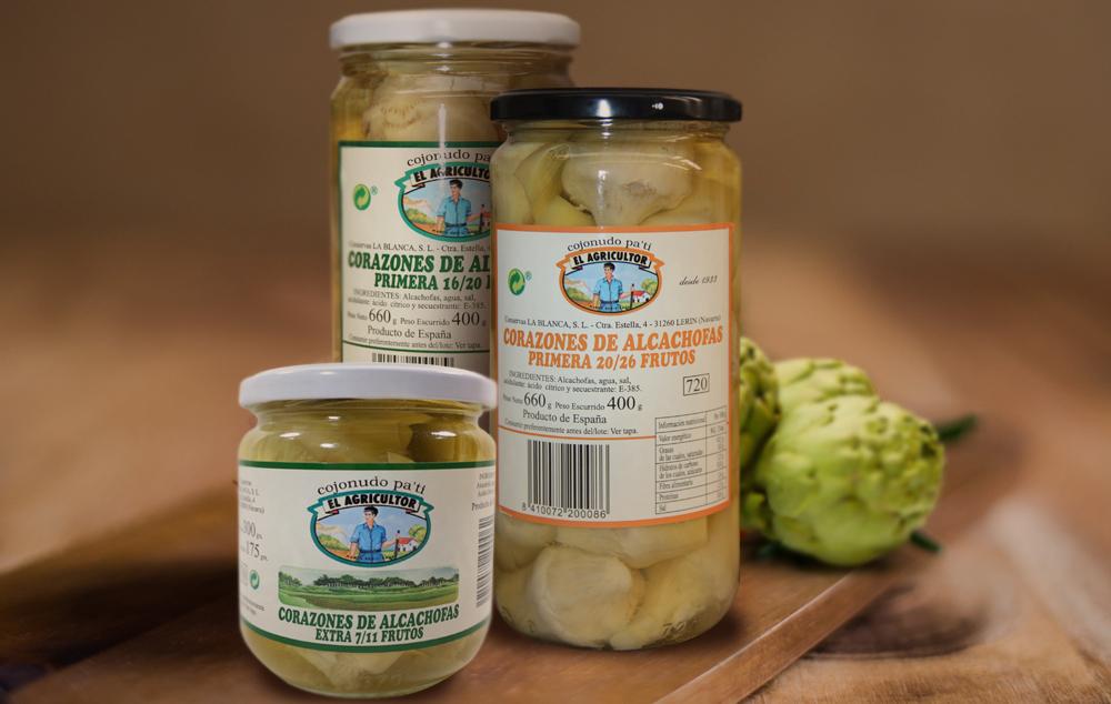Variedad de alcachofas Conservas el Agricultor