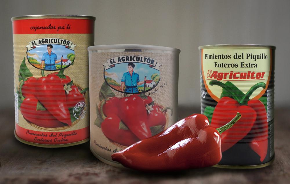 Bodegón de latas de pimientos El Agricultor